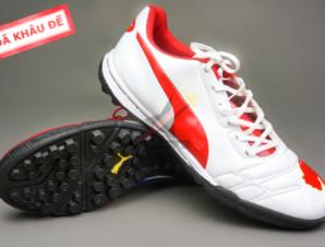 Giày bóng đá Puma 2 màu đỏ trắng TF new_big_0